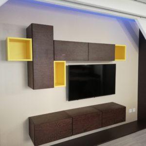 Achat meuble tv wengé et jaune